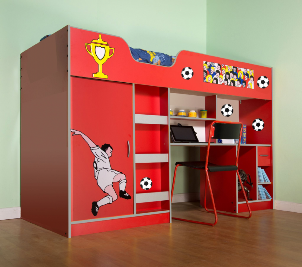High Sleeper Cabin bed  ideal children kids safe  bed with wardrobe and desk Football